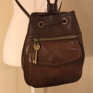 Vintage Fossil brown leather backpack